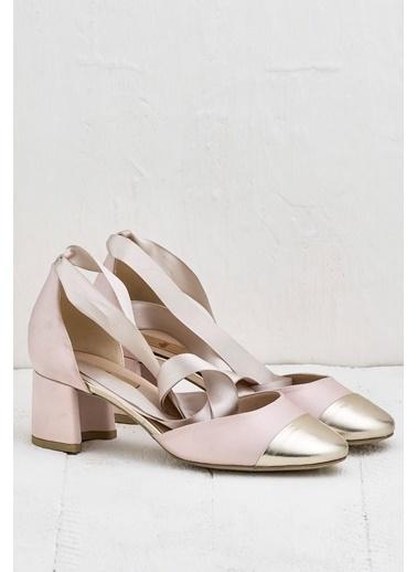 Elle Kalın Topuklu Ayakkabı Ten